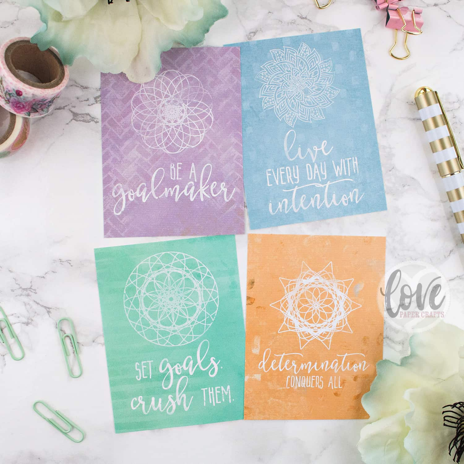 Free Printable 3x4 Motivational Journal Cards