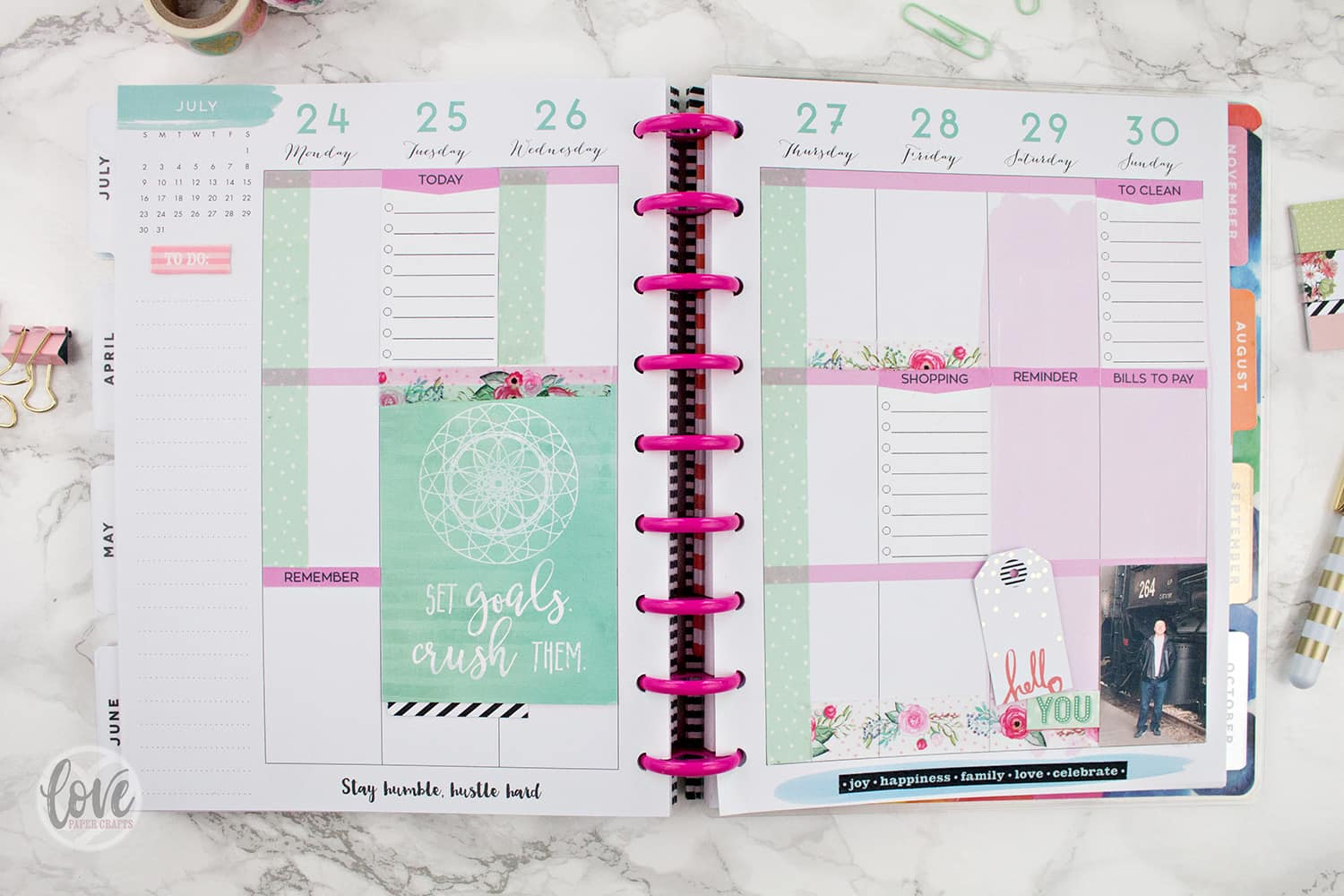 Happy Planner Layout Spread with Stickers Washi Tape and Journaling Cards