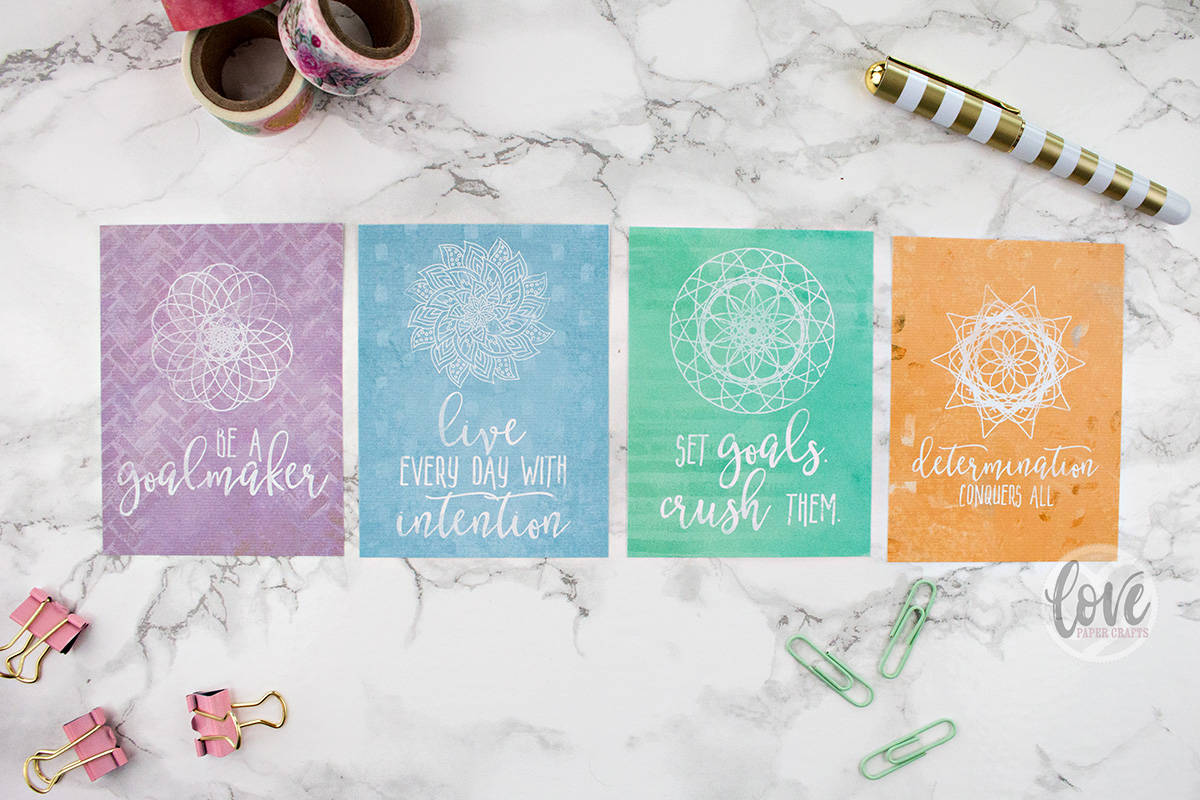 Printable Motivational Goal Planner Journaling Cards