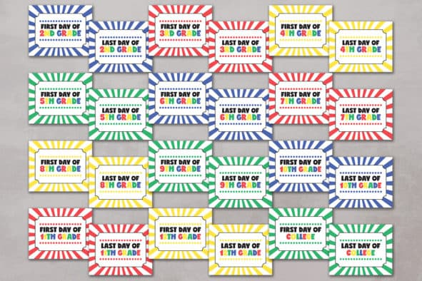 First and last day of school printable signs