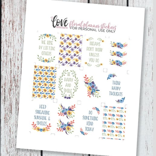 Floral Watercolor Free Printable Planner Stickers