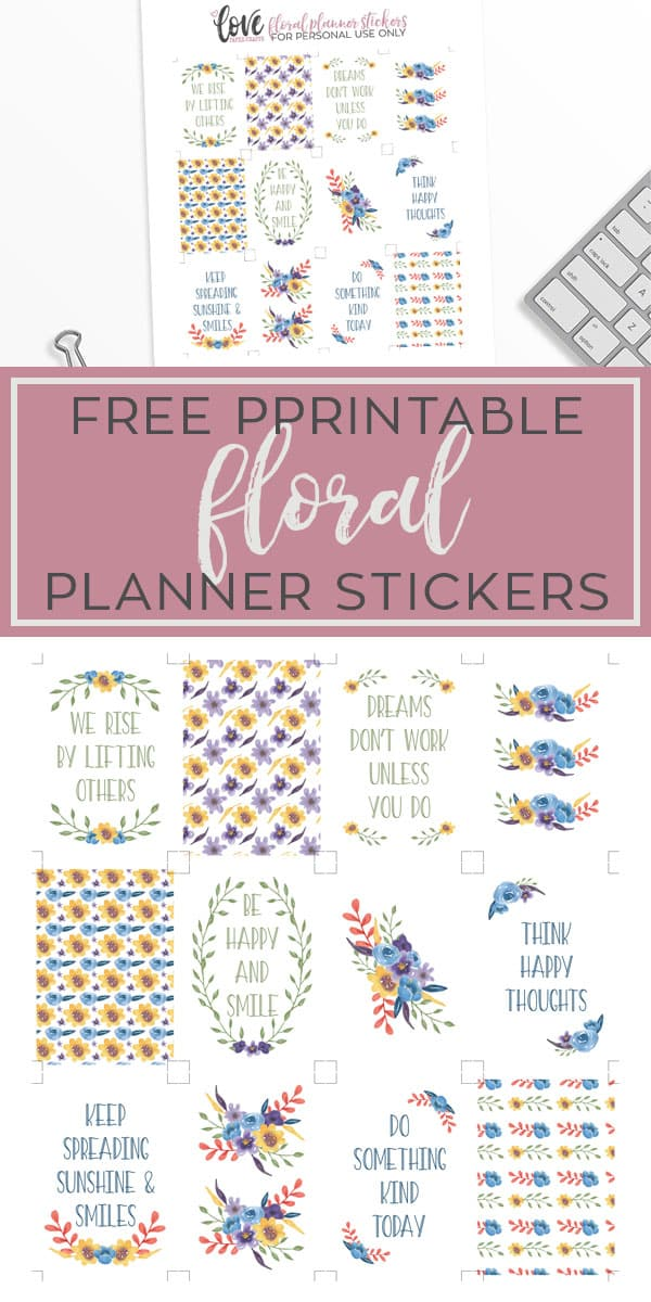 Free printable Floral Watercolor Happy Planner Stickers