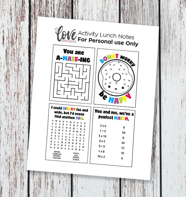 Free Printable Activities and Puzzles Lunch Box Notes