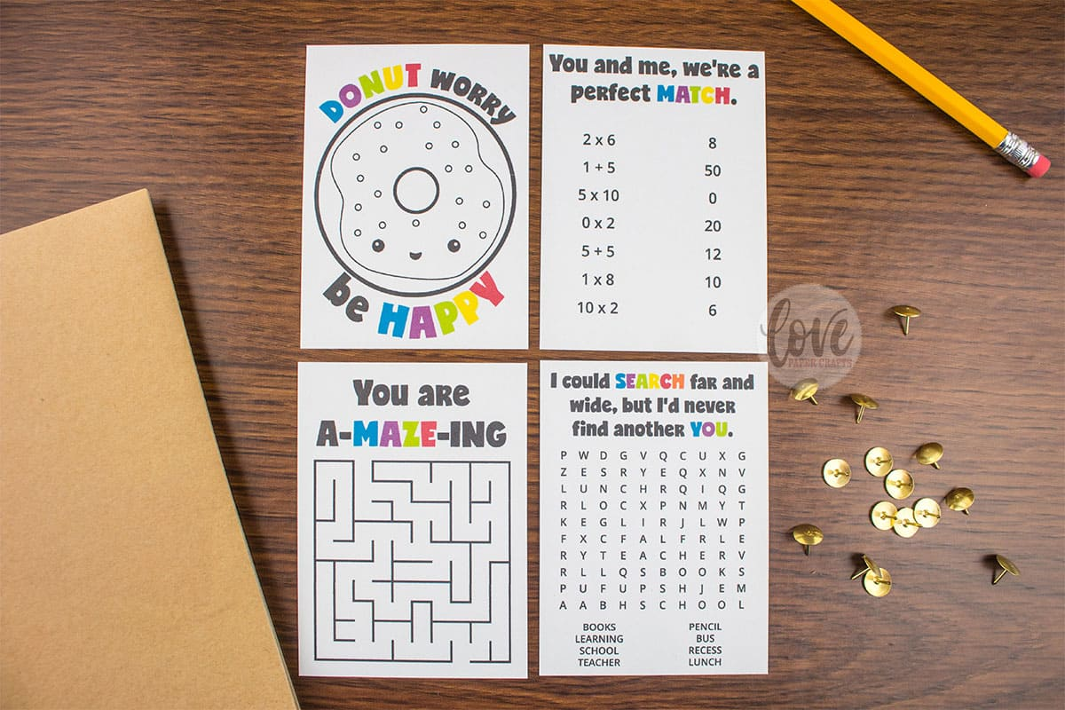 Free Printable Puzzle and Activity Lunch Box Notes