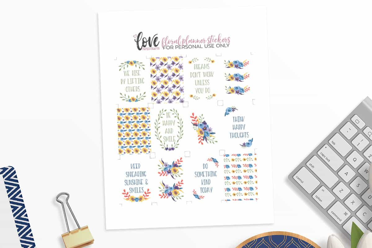 Printable Floral Happy Planner Stickers