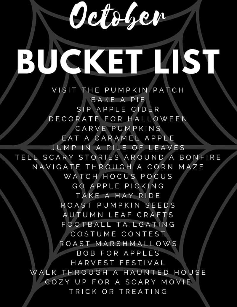 October and Halloween Family Friendly Bucket List of Things to do For Scrapbooking and Memory Keeping