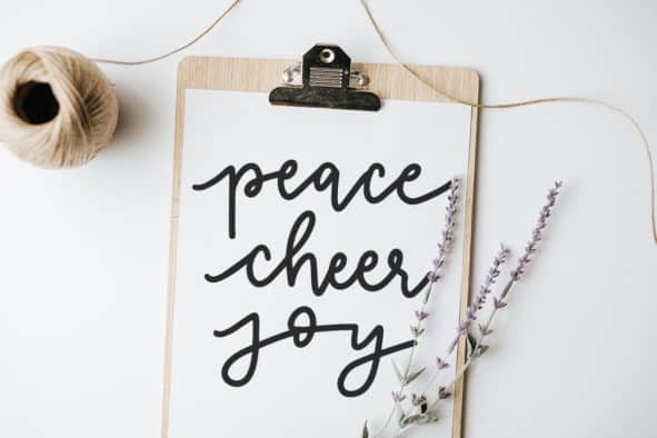 Peace Cheer Joy Hand Lettered SVG Cut File for Silhouette and Cricut