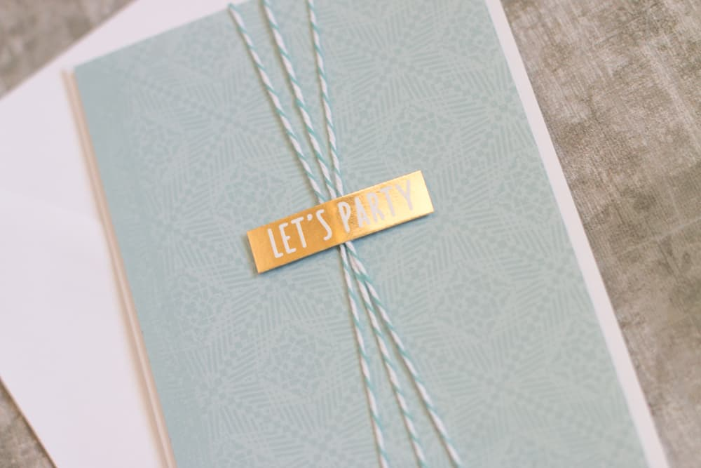 Blue and Gold Twine Handmade Card