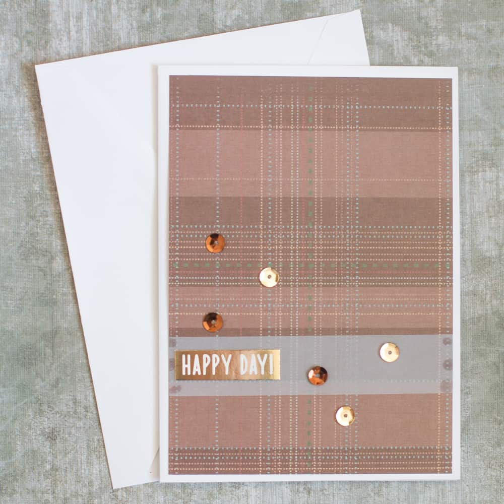 Brown and Gold Sequins Handmade Card