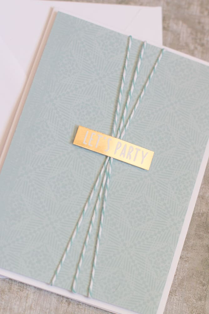 Easy Handmade Blue Greeting Card with Twine