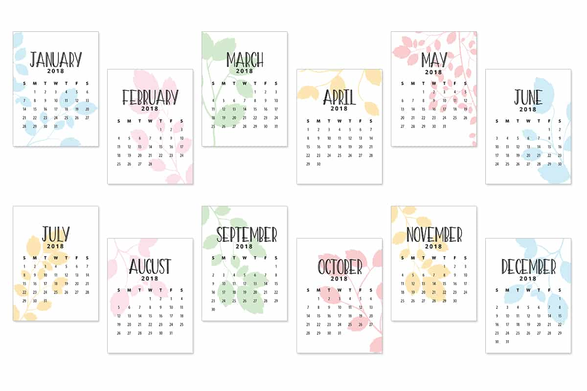 Free Printable 2018 Calendar Journaling Cards