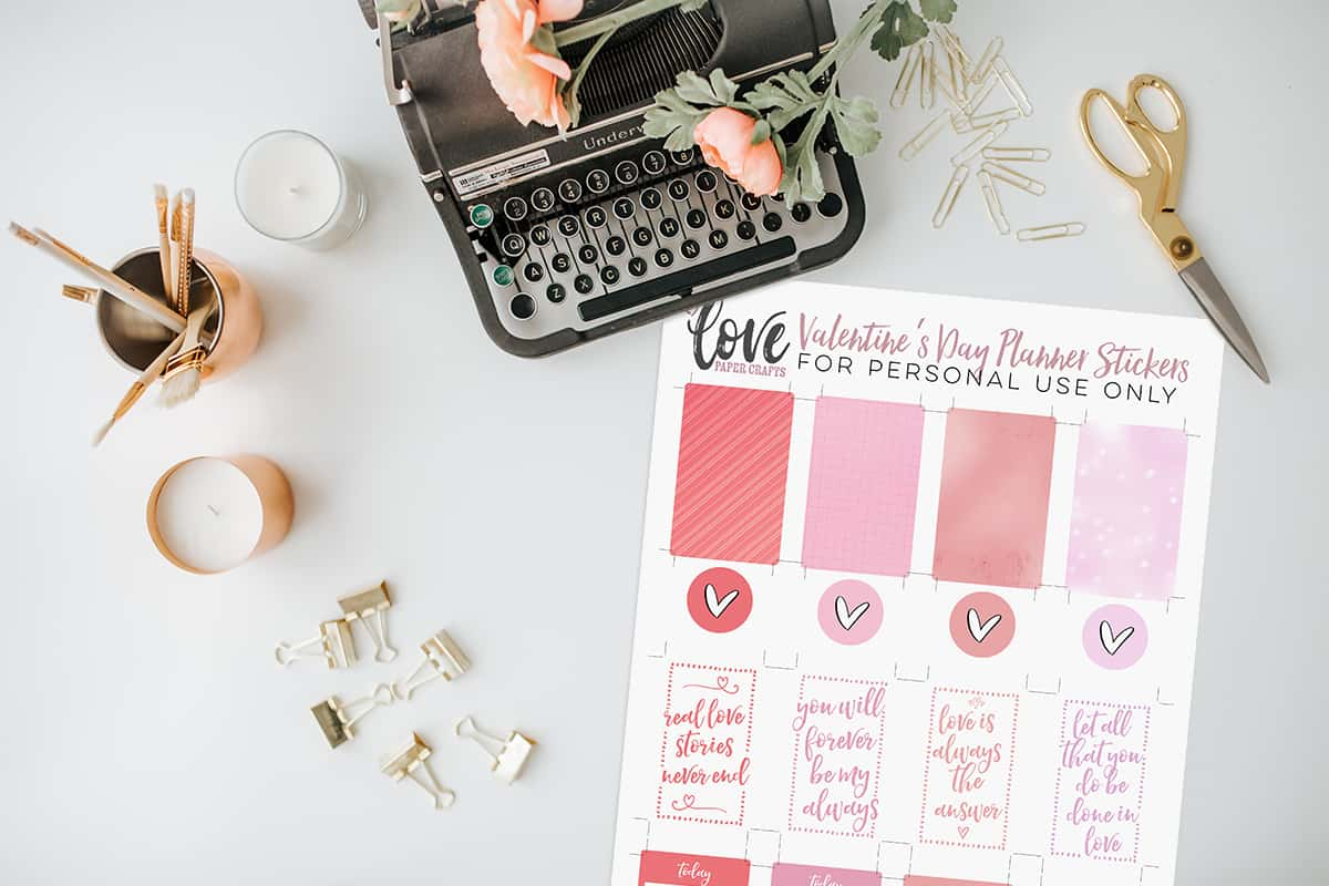 Valentines Day Printable Planner Stickers Freebie